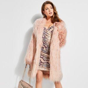 Blush Shaggy Faux-Fur Coat